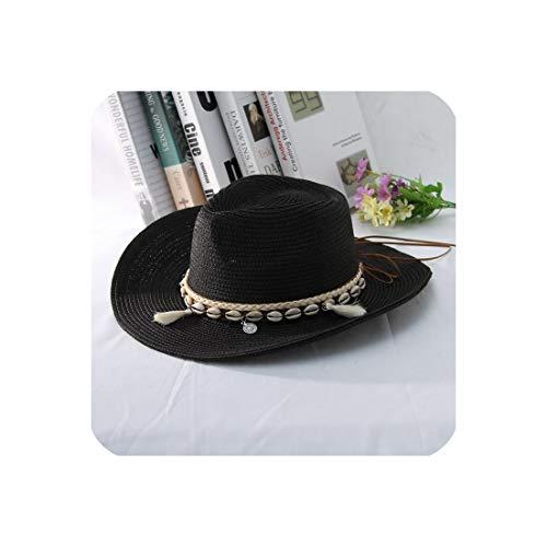 Women Men Western Cowboy Hat Lady Trendy Woven Sun Hat Beach Cap,Black,56-58Cm -