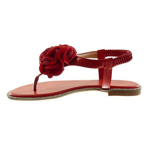 Angkorly Zapatillas Moda Sandalias Chanclas Correa Slip-On Correa de Tobillo Mujer Flores Strass Tacón Ancho 1.5 cm Rojo