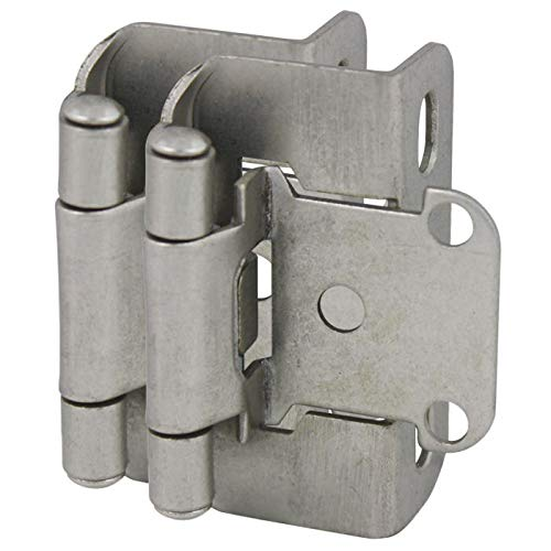 10 Pair Pack - Cosmas 27550-SN Satin Nickel Self Closing Partial Wrap Cabinet Hinge 1/2