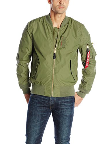 Alpha Industries Men's MA-1 Skymaster Water Resistant Flight Bomber Jacket, Sage, Medium