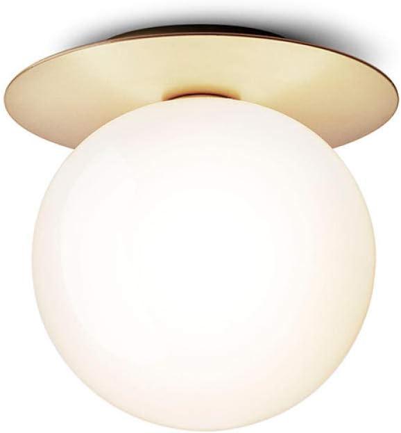 Iluminación de techo Fuente De Luz Moderna E27 Cuerpo De Hierro Forjado Pantalla De Cristal Blanco Lechoso Pantalla Del Pasillo Balcón Luz 14 × 17 × 16 CM, Natural_White_Light_