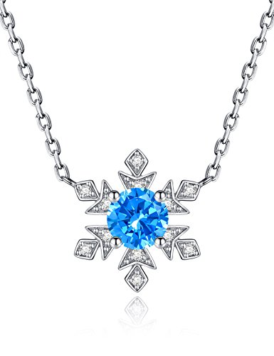 Sterling Silver Pendant Necklace Jewelry Created Blue Topaz Fashion Jewelry Snowflake Valentine's Day Gifts for Her Gifts For Women Wife Girlfriend Girls Mom Daughter Anniversary Gifts for Her