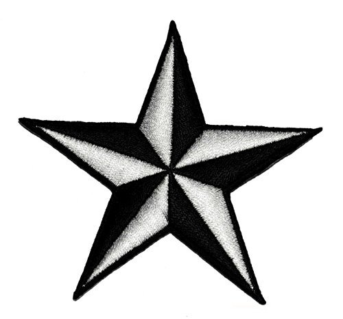 (Star Nautical Tattoo Naval symbol DIY Applique Embroidered Sew Iron on Patch NS-02 )