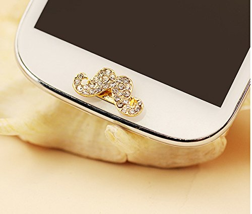 Alexism White Bling Mustache Rhinestone Crystal Home Button Sticker Mustache for Samsung Galaxy S3 S4 Note 2 Note 3