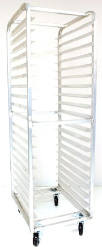Load Bun Rack Pan (Magna Industries 4612E Standard-Duty Aluminum End-Load Bun Pan Rack with Plate Casters, 20-1/2