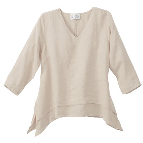 Double Layer Tunic - Women's Tunic Top - Easy Fit Double Layer Linen Shirt - Small - Natural