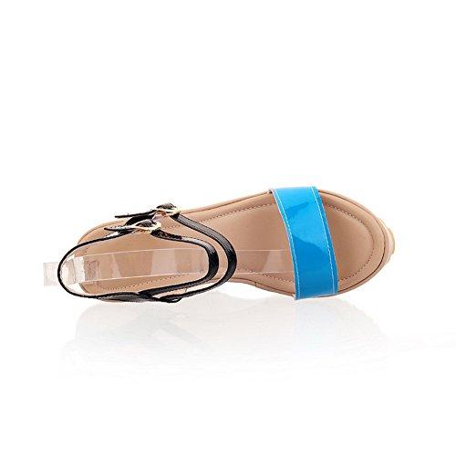 À Avec Couleurs Assorties Coin Bleu forme Pu Sandales Métal Boucles Plate De Voguezone009 En Bout Talon Ouvert Haut Filles A5qUxw67