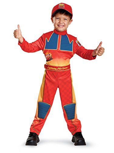 Cars 3 Lightning Mcqueen Deluxe Toddler Costume, Red, Large (4-6) -