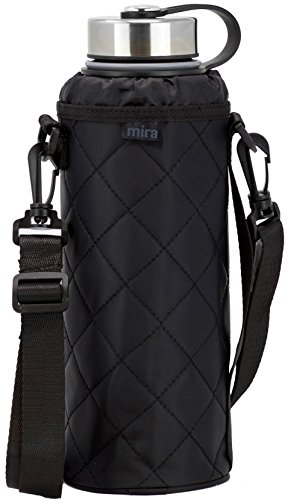 MIRA Water Bottle Carrier for 40 oz Wide Mouth Vacuum Insulated Stainless Steel Bottles | Fits, Hydro Flask, Camelbak, Takeya and Other Wide Mouth Bottles | Black Smooth Twill