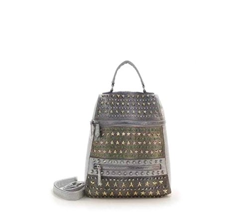 Flowertree Women's Snakeskin Patent Leather Hand Studded Star Backpack Shoulder Bag Silver (Silver) by flowertree