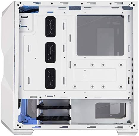 "Cooler Master MasterField TD500 Mesh White Airflow ATX Mid-Tower with Polygonal Mesh Front Panel, Crystalline Tempered Glass, E-ATX as much as 10.5"", Three 120mm ARGB Fans & ARGB Lighting System"