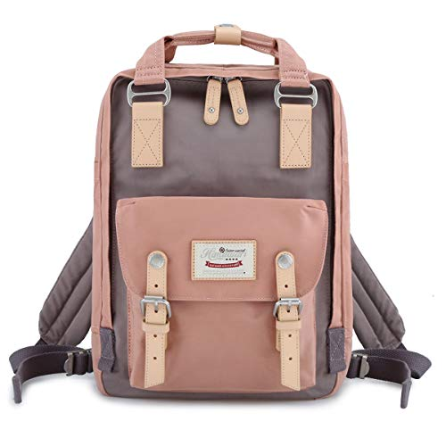 Himawari School Waterproof Backpack 14.9 College Vintage Travel Bag for Women,14 inch Laptop for Student (pink&Gray)
