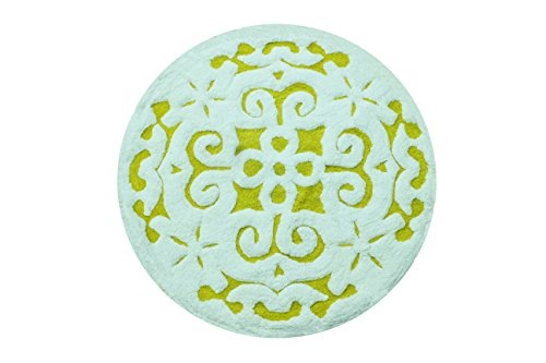 Saffron Fabs Bath Rug 100% Soft Cotton, 36 Inch Round, Damask Pattern, Latex Spray Non-Skid Backing, Yellow/White Color, Hand Tufted, Heavy 200 GSF Weight, Machine Washable, Construction - Round Tufted Cotton Rug