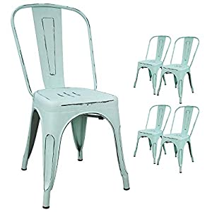 Devoko Metal Indoor-Outdoor Chairs Distressed Style Kitchen Dining Chairs Stackable Side Chairs with Back Set of 4 (Blue…