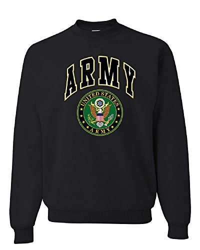 US ARMY CREW NECK SWEATSHIRT ARMY LOGO CREST PATRIOTIC, Black, L, Black, L