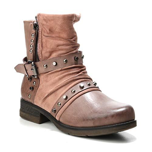 HERIXO Boots Boho Schnalle Schuhe Pink Stiefeletten Materialmix Nieten Reissverschluss Bohemian Damen Cowboy rAqvr