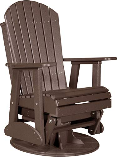 LuxCraft Poly Recycled Plastic 2' Adirondack Swivel Glider Chestnut Brown Color - Outdoor Weather Resistant Glider Chair