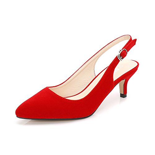 OCHENTA Womens Pointed Toe Slingback Kitten Heel Dress Pump Velvet Red Tag 39 - US (Red Slingback Pump)
