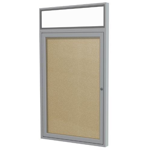 Headliner Cork Bulletin Board - Ghent 3 x 2 inches Outdoor Satin Frame Enclosed Vinyl Bulletin Board  with Illuminated Headliner, Caramel, Made in the USA