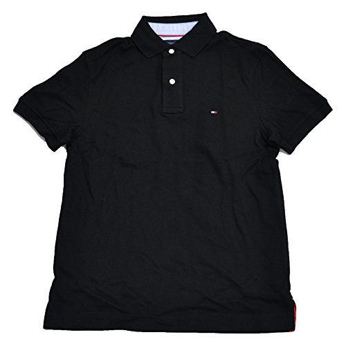 Tommy Hilfiger Mens Custom Fit Interlock Polo Shirt (Black, Large)