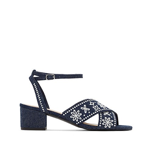 La Redoute Womens Denim Sandals with Floral Embroidery Denim Blu
