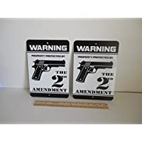 2 Warning Property Protected By The 2nd Amendment Gun Home Security Yard Signs #723