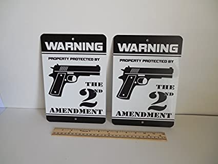 2 Warning Property Protected By The 2nd Amendment Gun Home Security Yard Signs 723