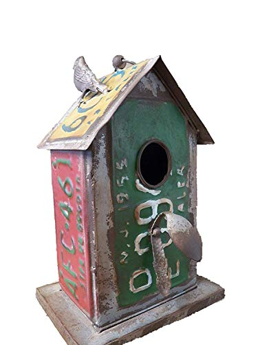 - Adorable Industrial Style Old License Plate Metal Bird House Rustic Antique Styling Birdhouse
