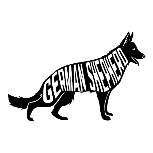 German Shepherd Breed Word Art - Seven Inch Wide Black Vinyl Decal - For Indoor or Outdoor Use - Car, Truck, Laptop, MacBook