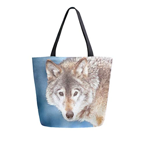 Canvas Tote Bag Closeup Wild Wolf Canvas Bookbag Shoulder Handbag Men