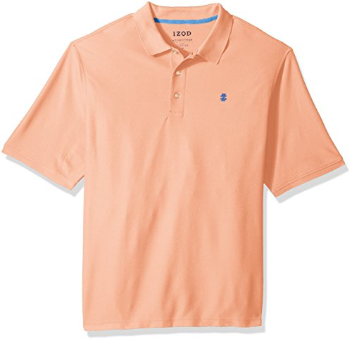 IZOD Men's Big and Tall Advantage Performance Short Sleeve Solid Polo Shirt, Papaya Punch, - Stretch Cotton Rugby