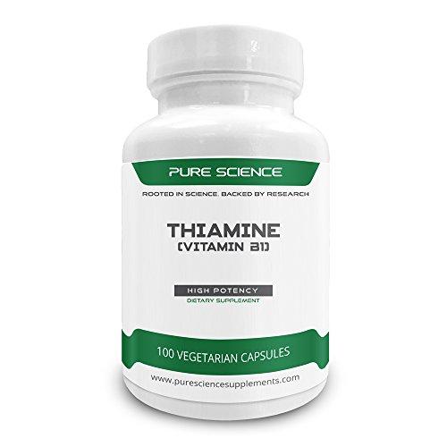 Pure Science Thiamine Vitamin B1, 100 Vegetarian Caps