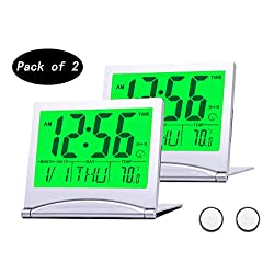BESTWYA Travel Clock, Slim Compact Size Multifunction Digital Alarm Clock with Backlight Calendar Time Weekday Temperature Alarm Snooze Timer Function (2, Silver)