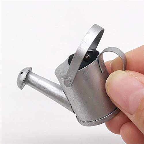 NszzJixo9 Mini 1/12 Metal Silver Watering Can Garden for Kids Dollhouse Miniature - Dollhouse Furniture Mini Miniature ()