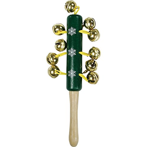 Christmas Shop Childrens/Kids Wooden Jingle Bells Stick Instrument (One Size) (Green)