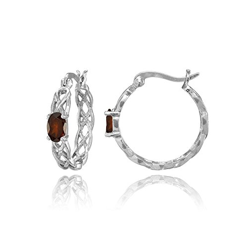 (Sterling Silver Garnet Celtic Knot Round Hoop Earrings)