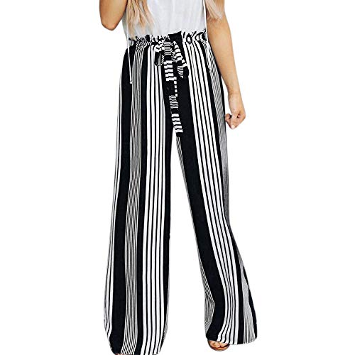JOFOW Womens Wide Leg Dress Pants,Vertical Striped High Waisted Drawstring Strappy Casual Loose Long Trousers (L =US:4-8,Black)