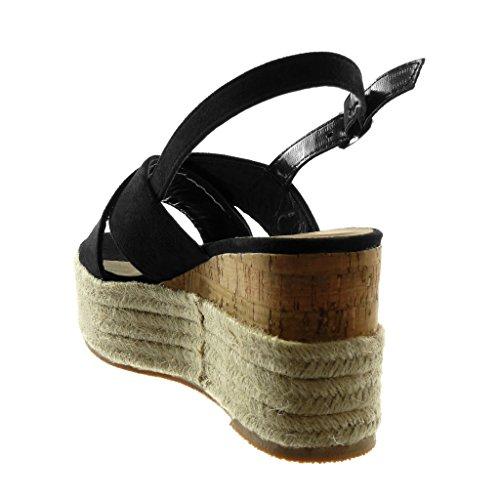Cinturino alla con Mules Corda Tanga Caviglia cm Angkorly Donna Sandali 5 Moda Nero Tacco Scarpe Zeppe Zeppa Intrecciato Piattaforma 9 vnWXRv4qY