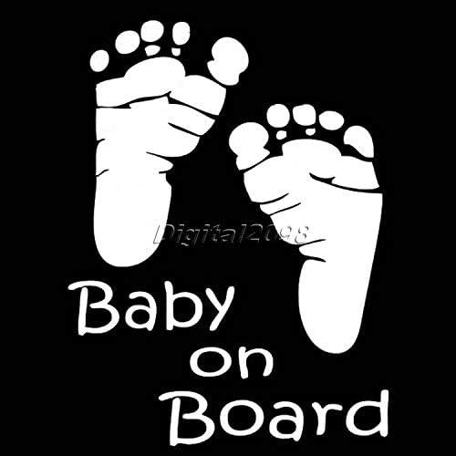 1PCS Car Warning Sticker Baby on Board Footprints Lovely Decal Window Windshield