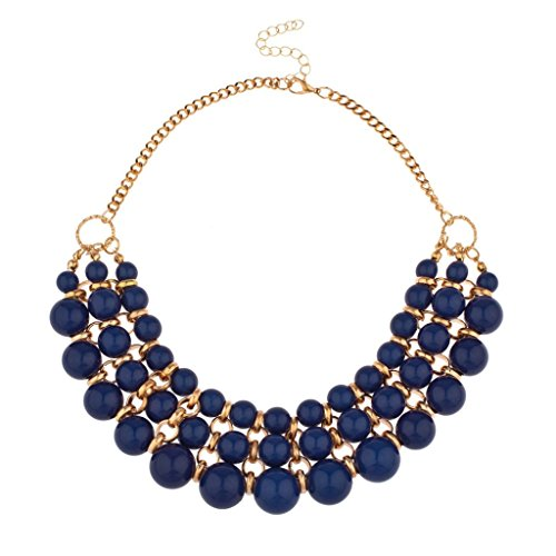Lux Accessories Multi Row Beaded Bib Statement Chain (Multi Chain Beaded Necklace)