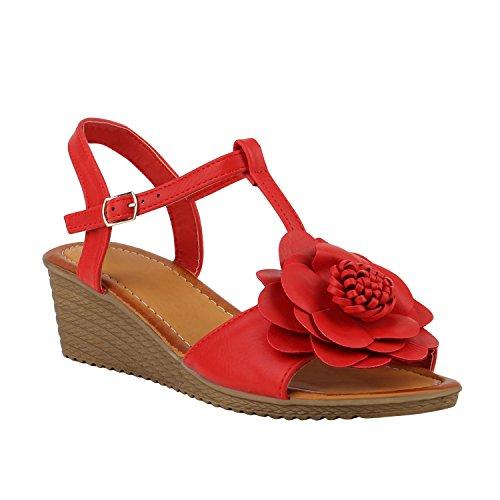 Stiefelparadies Damen Keilsandaletten Blumen Strass Sandalen Zierperlen Sommerschuhe Sandaletten Riemchensandalen Wedges Keilabsatz Schuhe Flandell Rot Blumen