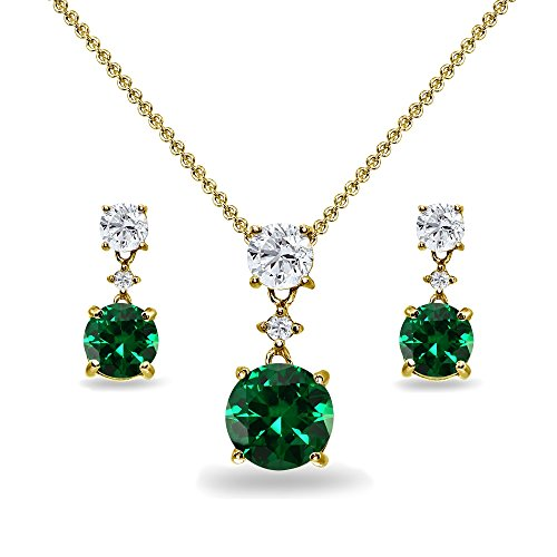 Yellow Gold Flashed Sterling Silver Simulated Emerald & White Topaz Round Three Stone Dangling Necklace & Stud Earrings Set