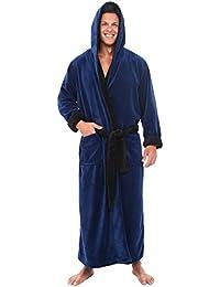Mens Fleece Robe with Contrast, Long Hooded Bathrobe