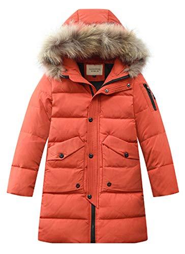 LISUEYNE Big Boys' Winter Hooded Down Coat Kids Puffer Jacket Mid-Long Parka 15 Orange 140/8