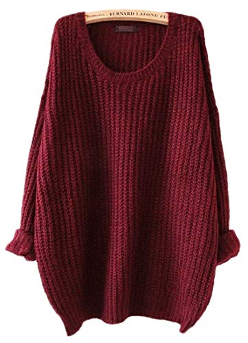 (ARJOSA Women's Fashion Oversized Knitted Crewneck Casual Pullovers Sweater (#1 Wine)