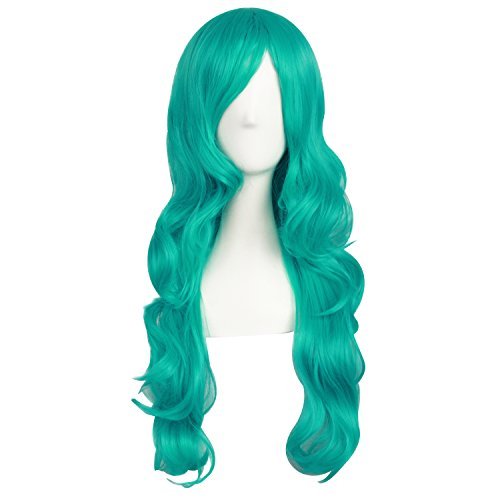 MapofBeauty 24 Inch/60cm Charming Synthetic Fiber Long Wavy Hair Wig Women's Party Full Wig (Dark Turquoise) -