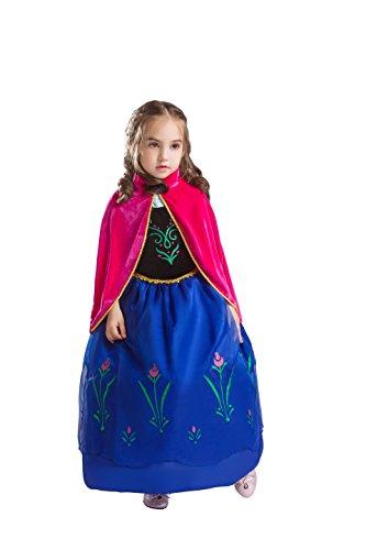 ELSA & ANNA® Meisjes Sneeuw Koningin Prinses Kostuum Party Outfit Cosplay Kleding Fancy Jurk ANNA2 (5-6 jaar)
