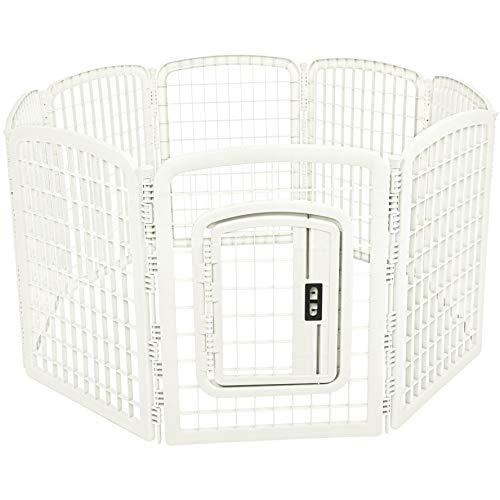 AmazonBasics 8-Panel Plastic Pet Pen Fence Enclosure With Gate - 64 x 64 x 34 Inches, White