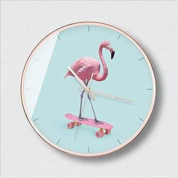 XIXIGZ Relojes De Pared Personalidad Nórdica Moda Reloj De Pared Flamenco Rosado Moderno Minimalista Reloj De Pared Sala De Estar Tendencia Creativa Mudo ...