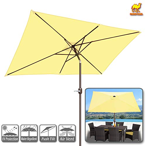 Strong Camel 10 FT Outdoor Market Patio Umbrella w Crank Tilt Adjustment Ecru